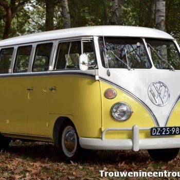 gele VW bus huren voor je bruiloft